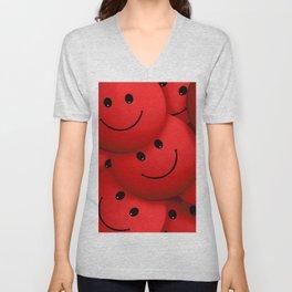 Red Smileys Unisex V-Neck