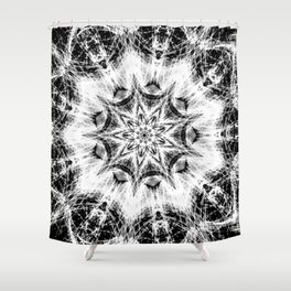 Atomic Black Center Swirl Mandala Shower Curtain