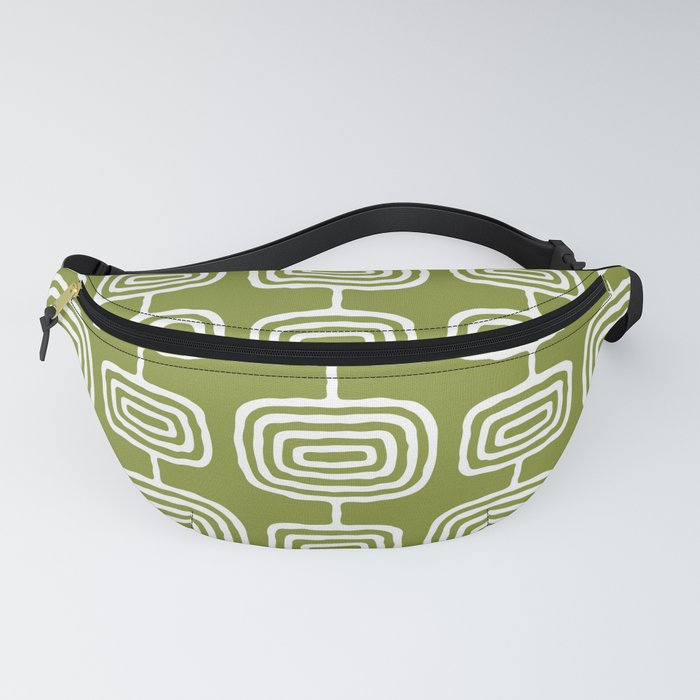 Mid Century Modern Atomic Rings Pattern Olive Green Fanny Pack