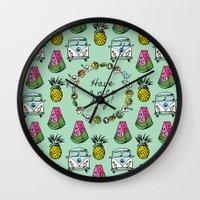 brasil Wall Clocks featuring VIVA BRASIL! by Laura Pabst  de Cesar
