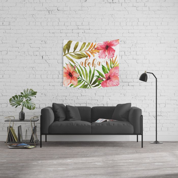 Aloha Watercolor Tropical Hawaiian leaves and flowers Wall Tapestry
