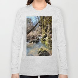 Alone in Secret Hollow with the Caves, Cascades, and Critters - Peering into the Cold, Clear Spring Long Sleeve T-shirt