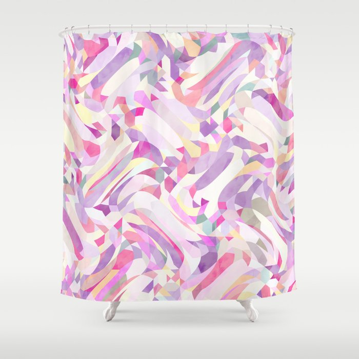 Calypso Pattern In Purple Pink Yellow And White Shower Curtain