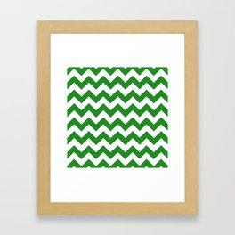 Chevron (Forest Green/White) Framed Art Print