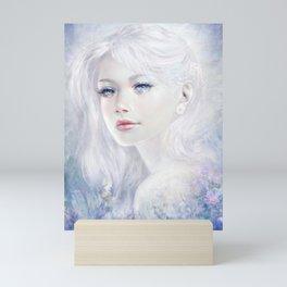 Snow white hair ice girl Mini Art Print