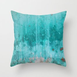 Weathered turquoise concrete wall texture Throw Pillow