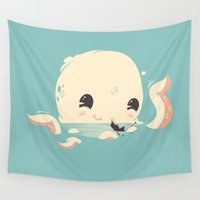 discount Wall Tapestries featuring Adorable Octopus Battle by Ryder Doty