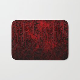 Red Cybernetic Circuit Board Crackle Grunge Texture Bath Mat