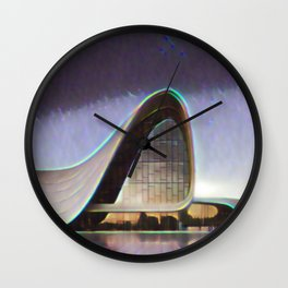 Azerbaijan Heydar Aliyev Center Artistic Illustration Lens Flare Style Wall Clock
