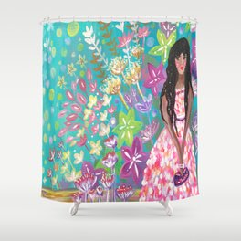 Tahani at the Annual Tropicana Charity Ball Shower Curtain