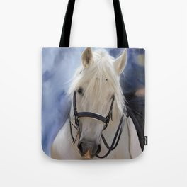 Painted White Horse head Tote Bag