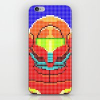 metroid iPhone & iPod Skins featuring Metroid Tiles by James Brunner