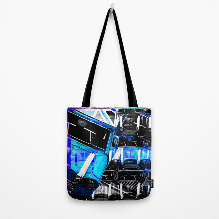 486701e87d7df3 Psychedelic Mini Cooper Blue Sport Car Abstract Background Tote Bag
