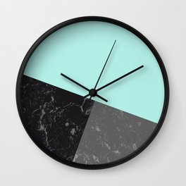 Marble Geometric Bright Mint Gray Black #6 #decor #art #society6 Wall Clock