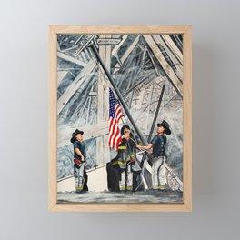 Firefighters Raising the Flag at Ground Zero Framed Mini Art Print