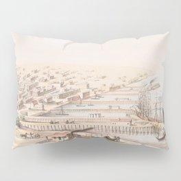 Vintage Pictorial Map of Galveston TX (1855) Pillow Sham