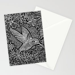Hummingbird In Flowery Wreath Linocut Stationery Cards