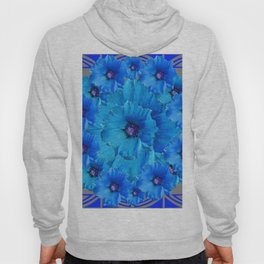 GORGEOUS BLUE FLOWERS  PATTERN ABSTRACT GREY ART Hoody