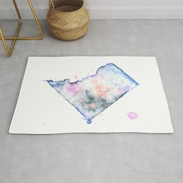 Washington DC Watercolor Map - State Map Art - Watercolor Maps Rug
