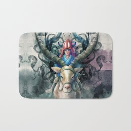 Ashitaka Demon Watercolor Digital Painting Bath Mat