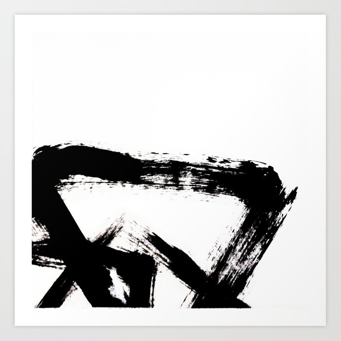 Brushstroke 8 A Simple Abstract Black And White India Ink Piece Art Print By Blushingbrushstudio