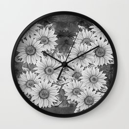 Watercolor Sunflower Pattern (Black and White) Wall Clock