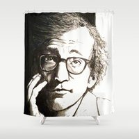 woody allen Shower Curtains featuring Woody Allen by Frances Roughton