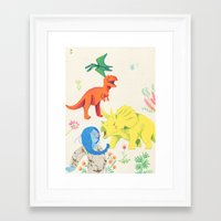 dinosaurs Framed Art Prints featuring Dinosaurs by Maria Garcia