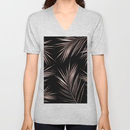 Rosegold Palm Tree Leaves on Midnight Black Unisex V-Neck