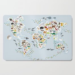 Cartoon animal world map for children and kids, Animals from all over the world Cutting Board