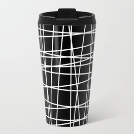 Black and White Lines Travel Mug