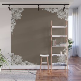 White Lace Mocha Decoration Vintage Lace Brown Retro Lace Henna Print Wall Mural