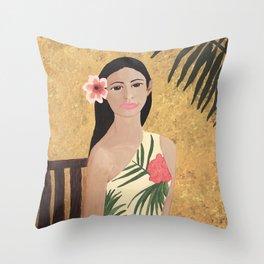 Hawiian Girl sitting in a chair Throw Pillow