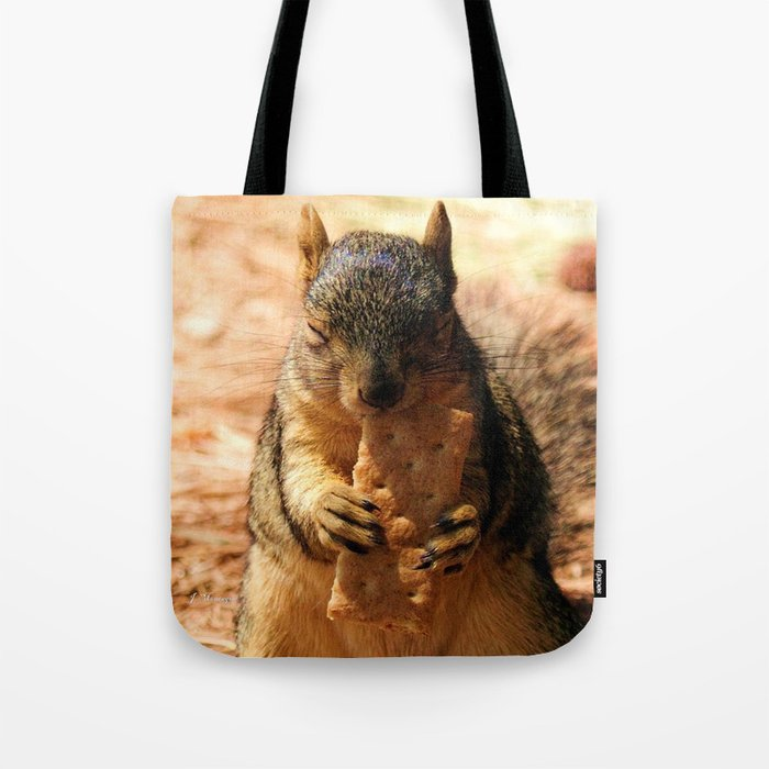 Contented Squirrel. © J. Montague. Tote Bag