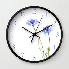 Two blue cornflower flowers isolated on white Wall Clock
