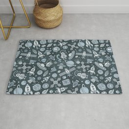 Galaxy Space Pattern | Astronaut Planets Rockets Rug