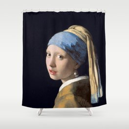 Girl With a Pearl Earring - Vermeer Shower Curtain
