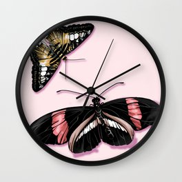 Papillon rouge et noir Wall Clock