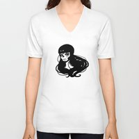 roller derby V-neck T-shirts featuring Roller Derby Catrina by Mean Streak