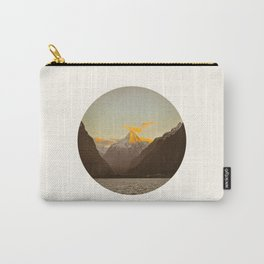 MidCentury Modern Circle Photo Parallax Mountains Distant Snow Capped Mountain With Yellow Tip Carry-All Pouch