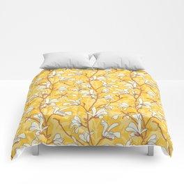 White Magnolias on Yellow Comforters