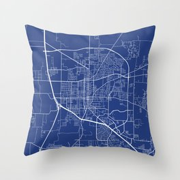 Denton Map, USA - Blue Throw Pillow