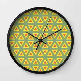 Triangle orange, green and yellow pattern Wall Clock