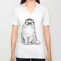 persian V-neck T-shirts featuring Hipster Persian Cat by Huebucket