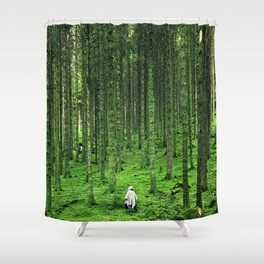 Green Wood Shower Curtain