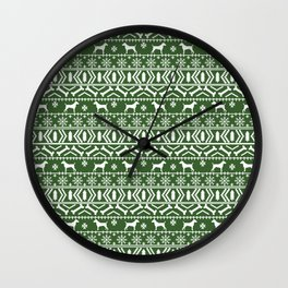 Jack Russell Terrier fair isle christmas sweater dog breed pattern holidays green and white Wall Clock