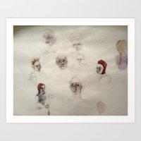 Floating Heads Art Print