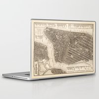 new york map Laptop & iPad Skins featuring New York Map by Le petit Archiviste