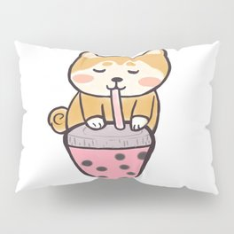 Kawaii Shiba with boba Pillow Sham