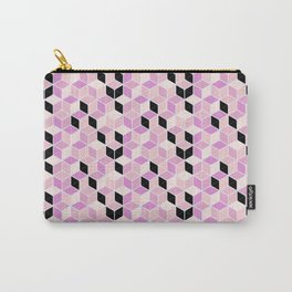 Pink Geometric Cubes Carry-All Pouch